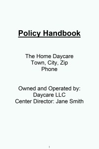 Look Inside Daycare Policy Handbook
