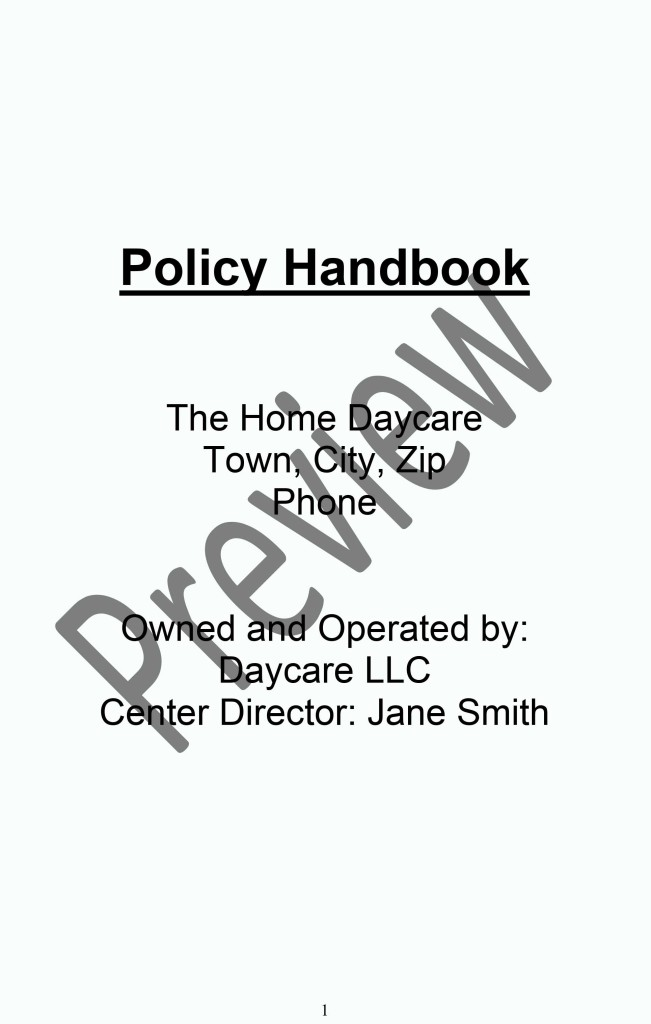 Daycare Policy Handbook Page 1