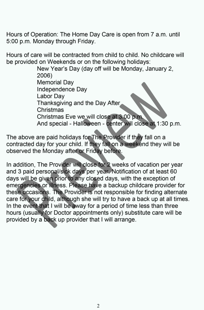 Daycare Policy Handbook Page 2
