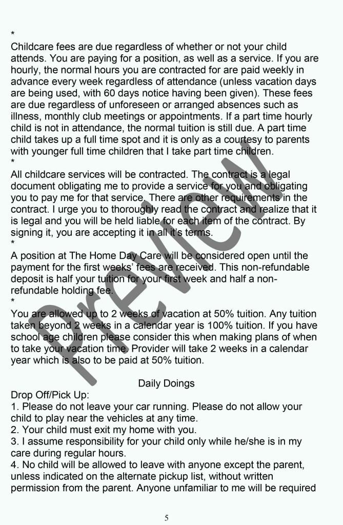 Daycare Policy Handbook P5