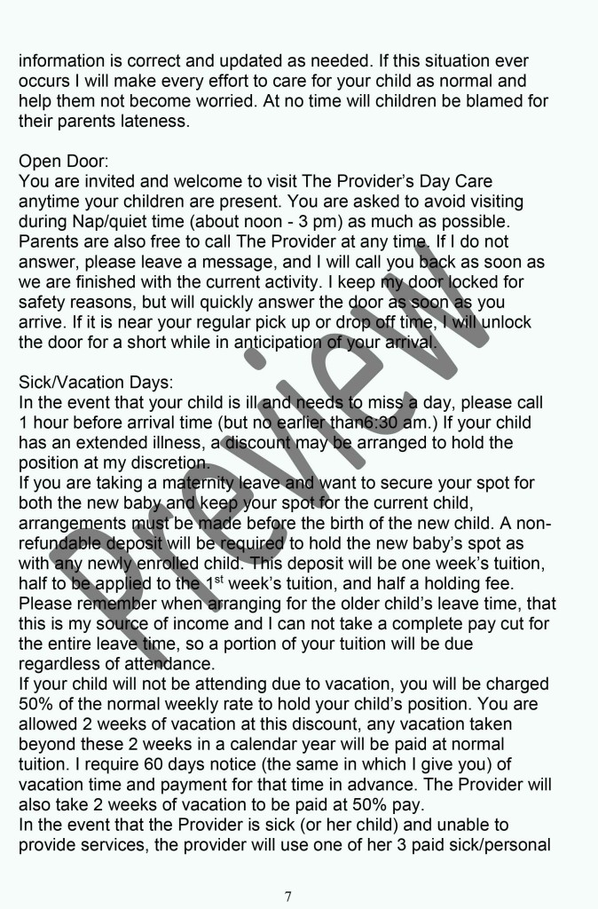 Daycare Policy Handbook P7