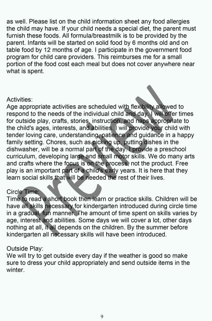 Daycare Policy Handbook P9